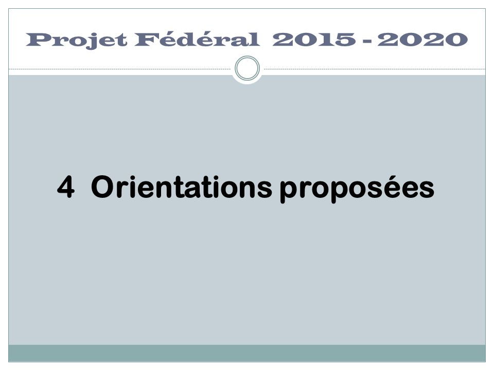 4 Orientations proposées