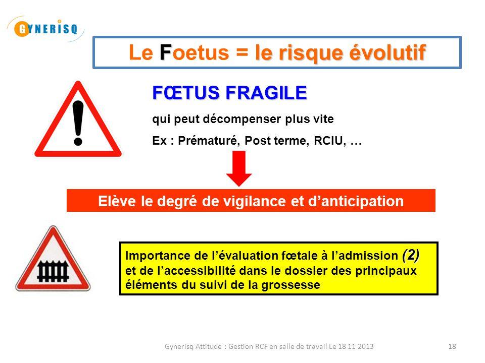 Le Foetus = le risque évolutif