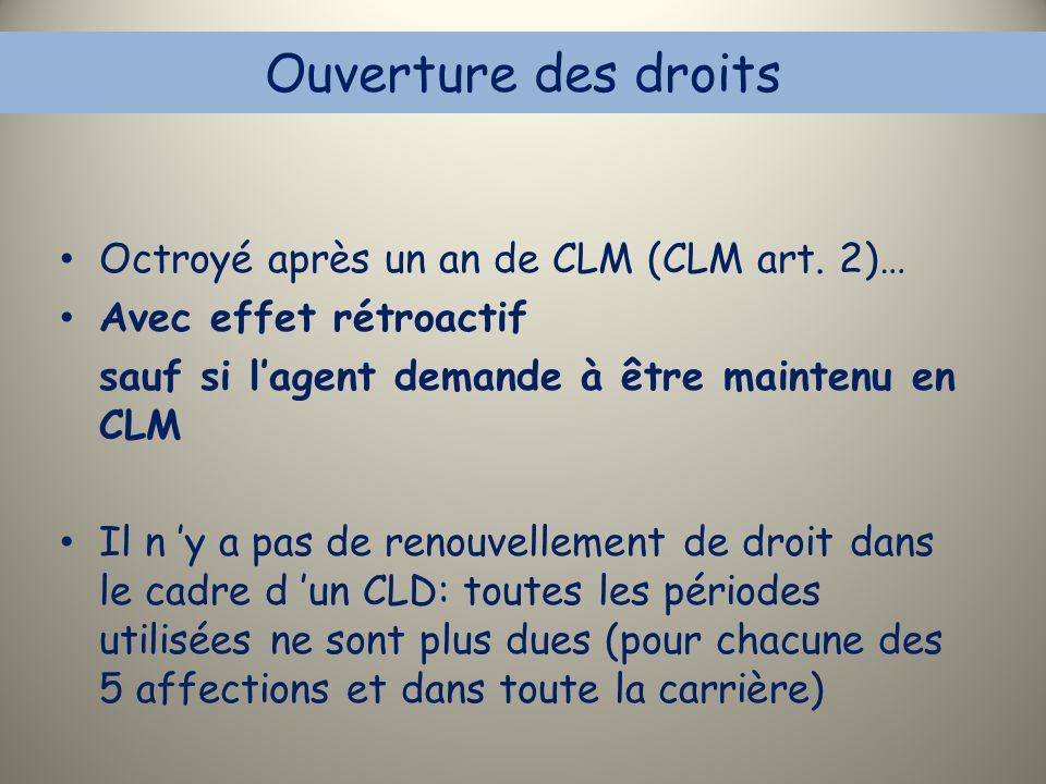 Ouverture des droits Octroyé après un an de CLM (CLM art. 2)…