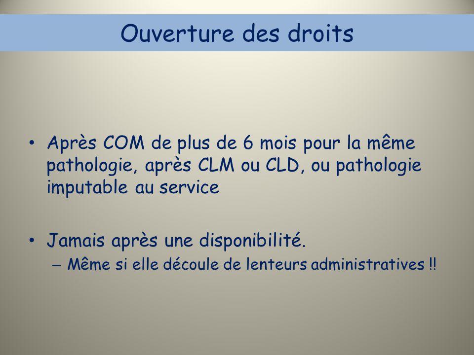 Ouverture des droits Après COM de plus de 6 mois pour la même pathologie, après CLM ou CLD, ou pathologie imputable au service.