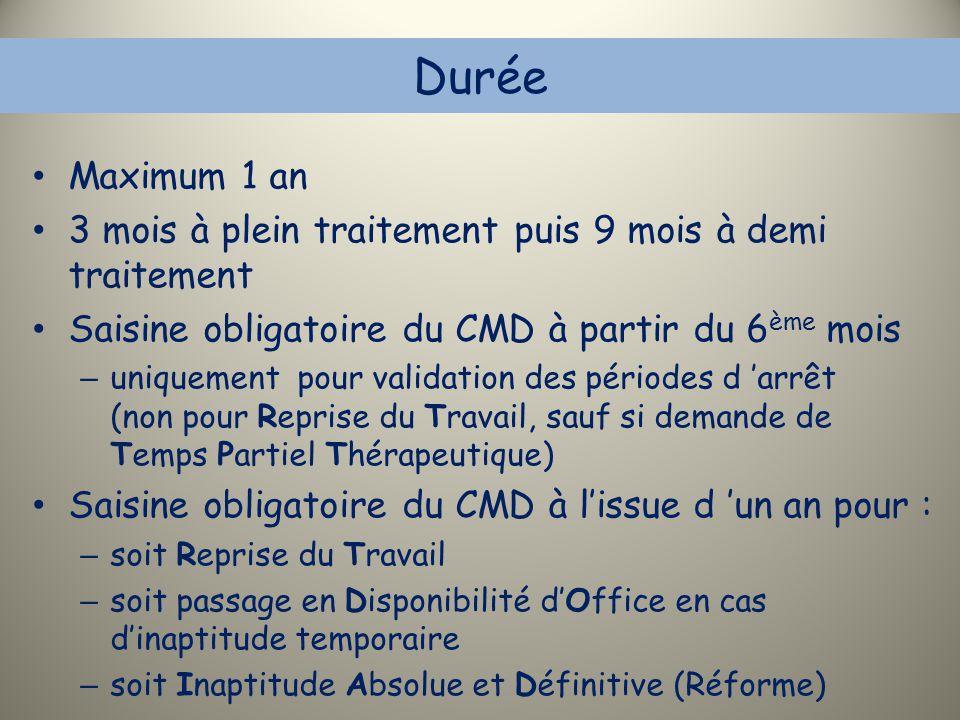 Durée Maximum 1 an. 3 mois à plein traitement puis 9 mois à demi traitement. Saisine obligatoire du CMD à partir du 6ème mois.