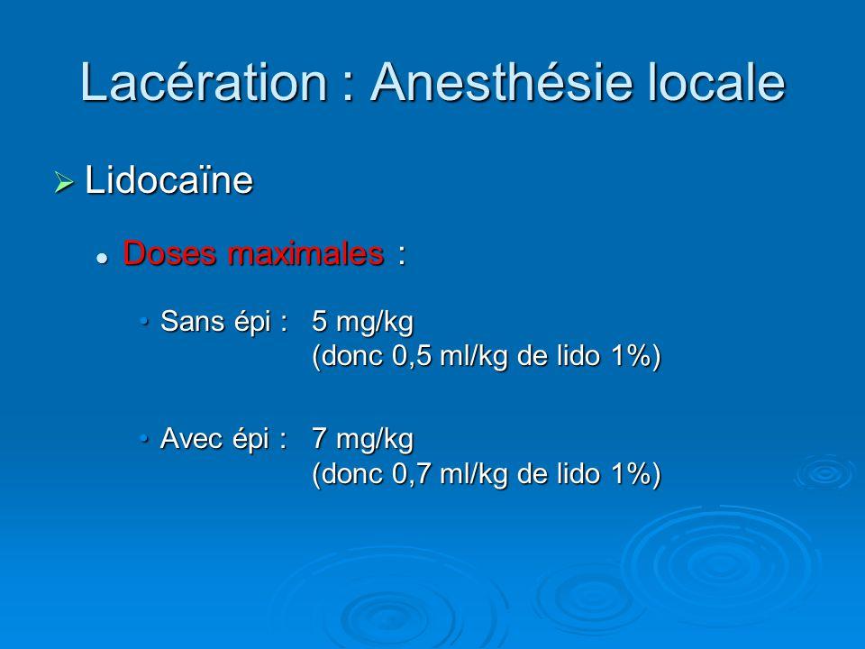 Lacération : Anesthésie locale
