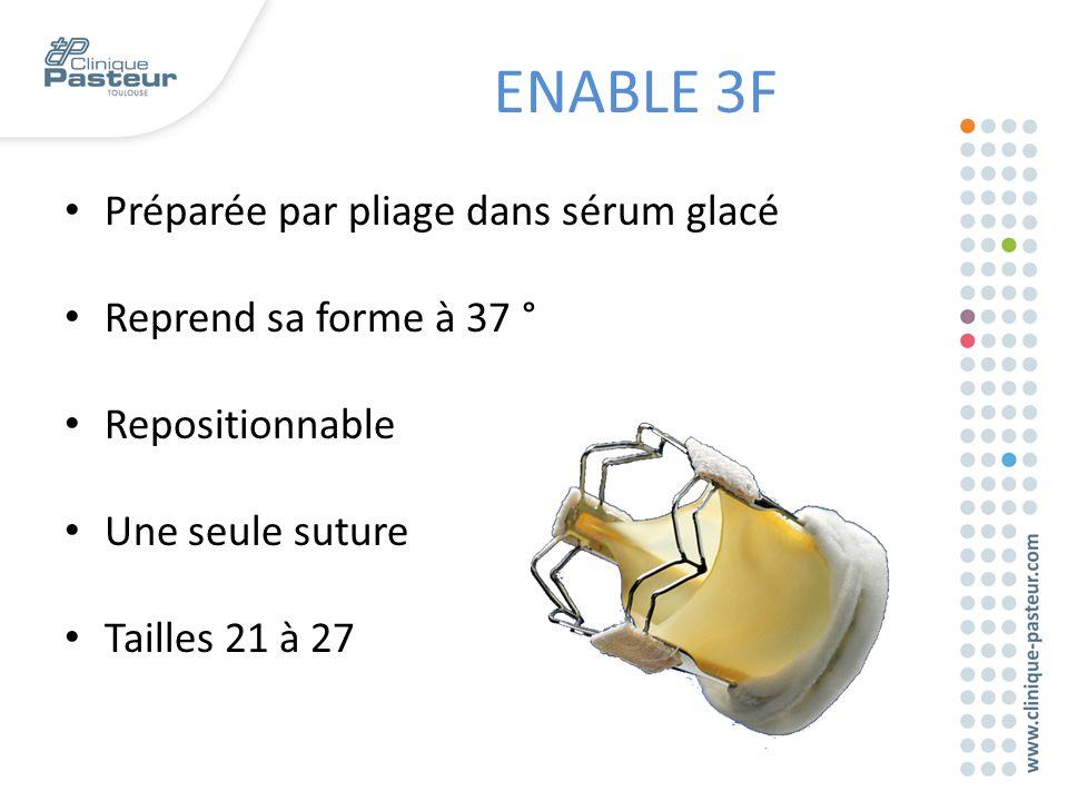 ENABLE 3F Préparée par pliage dans sérum glacé Reprend sa forme à 37 °