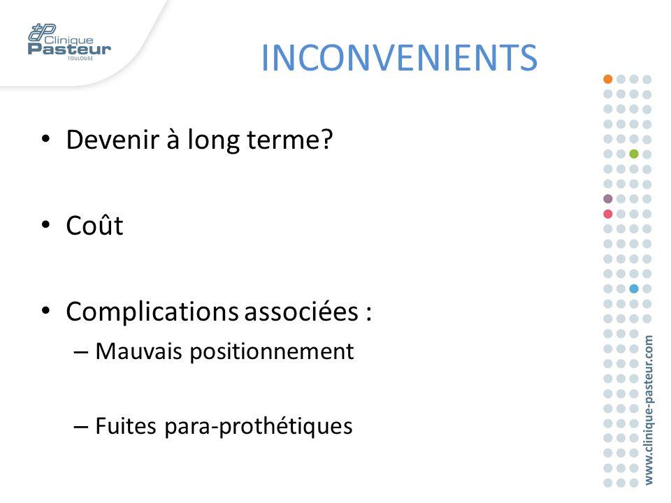 INCONVENIENTS Devenir à long terme Coût Complications associées :