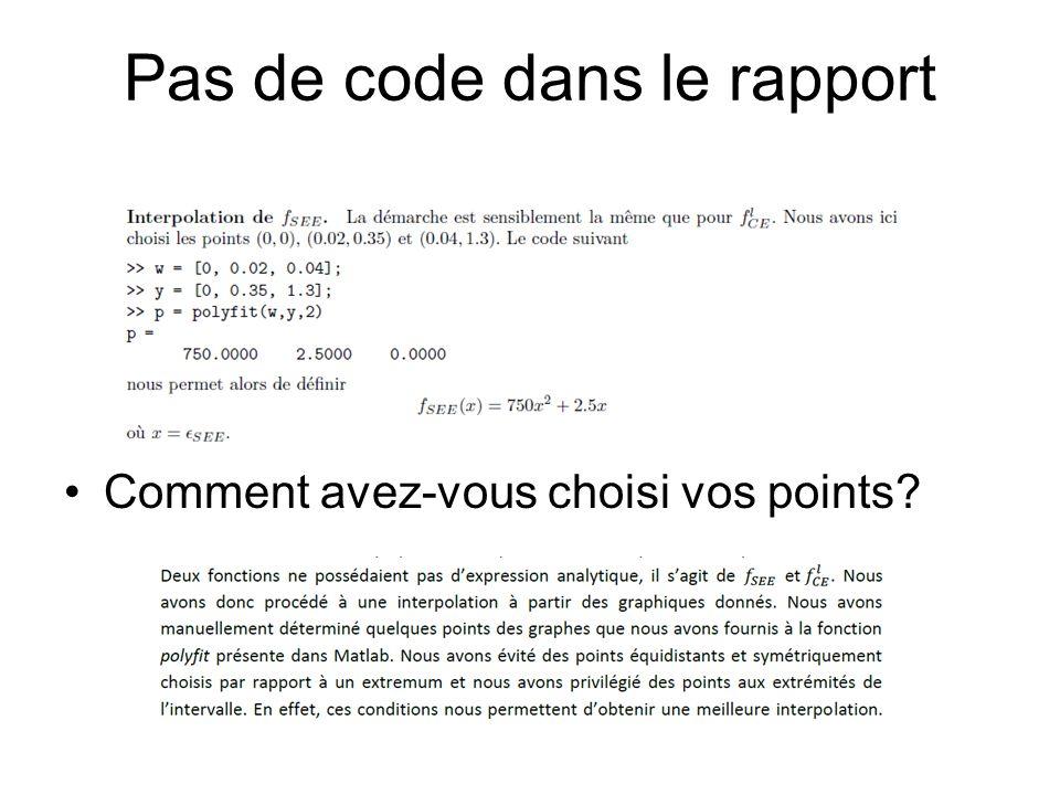 Pas de code dans le rapport