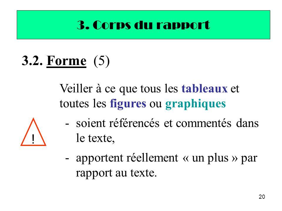 3.2. Forme (5) 3. Corps du rapport