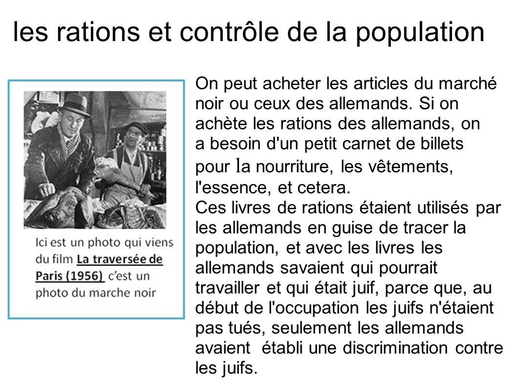 les rations et contrôle de la population