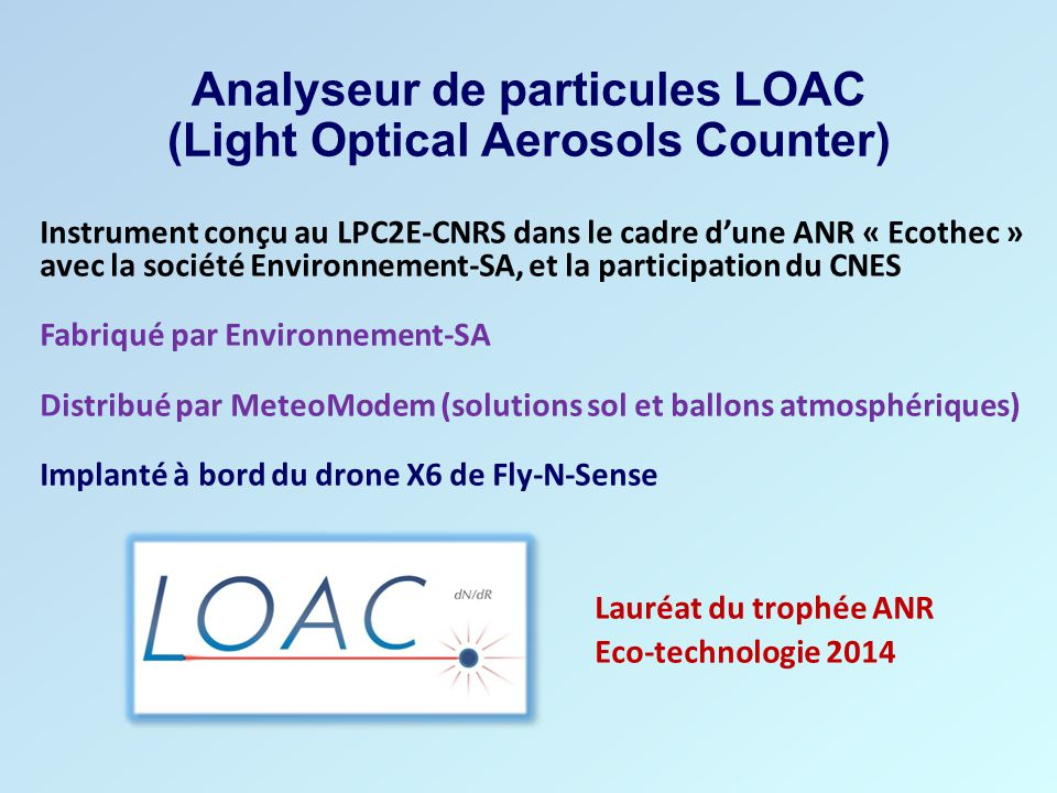 Analyseur de particules LOAC (Light Optical Aerosols Counter)