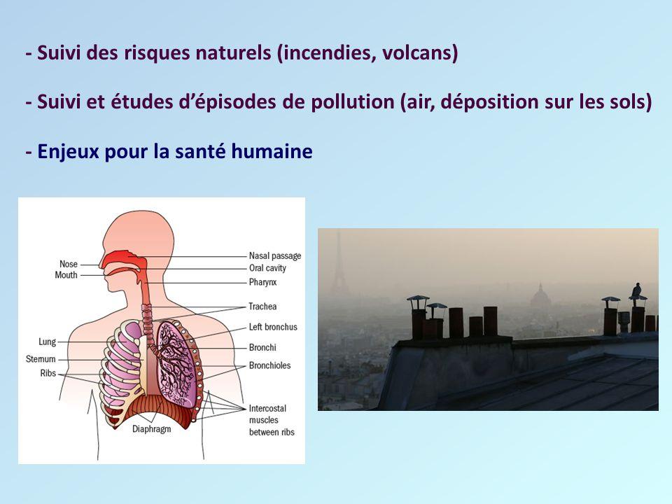- Suivi des risques naturels (incendies, volcans)