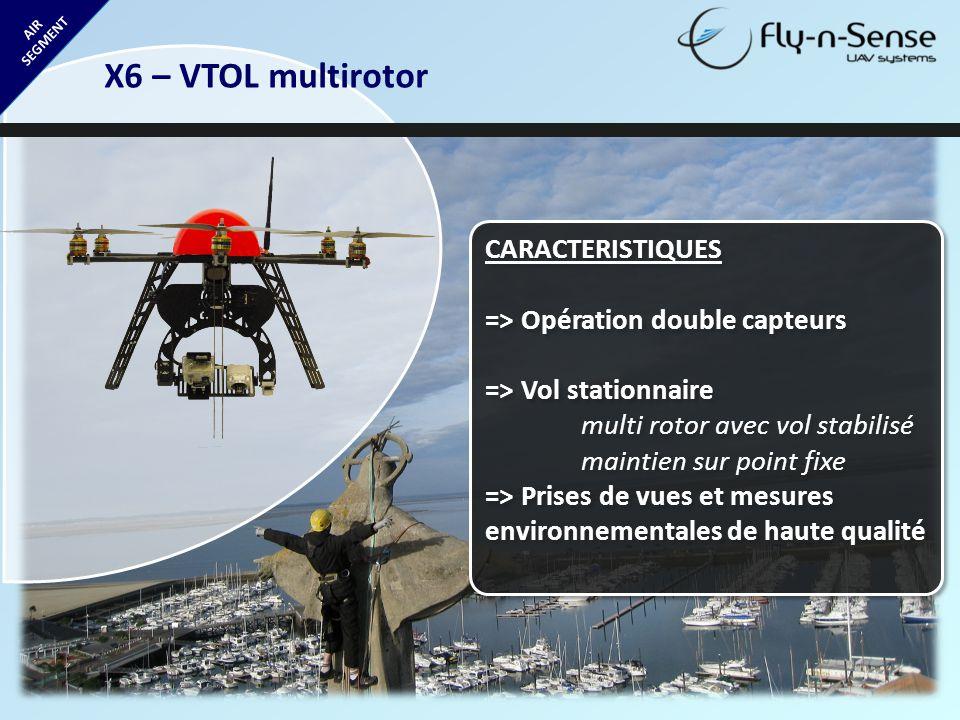 X6 – VTOL multirotor CARACTERISTIQUES => Opération double capteurs
