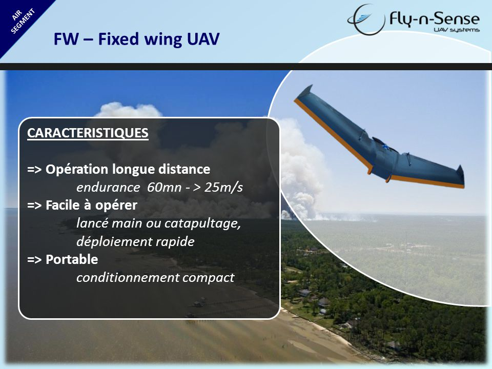 FW – Fixed wing UAV CARACTERISTIQUES => Opération longue distance