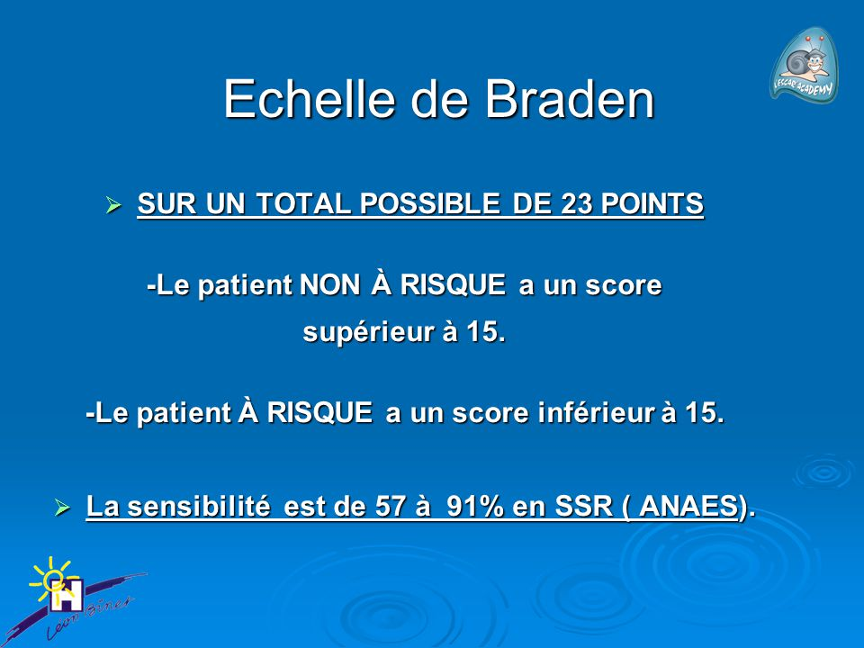 Echelle de Braden SUR UN TOTAL POSSIBLE DE 23 POINTS