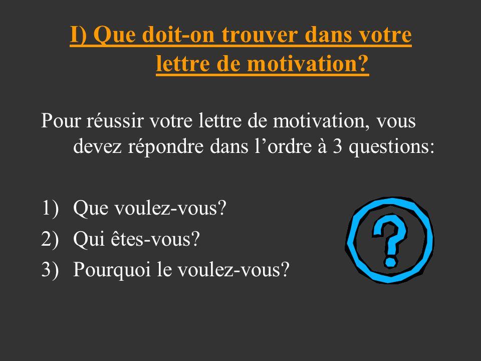 I) Que doit-on trouver dans votre lettre de motivation
