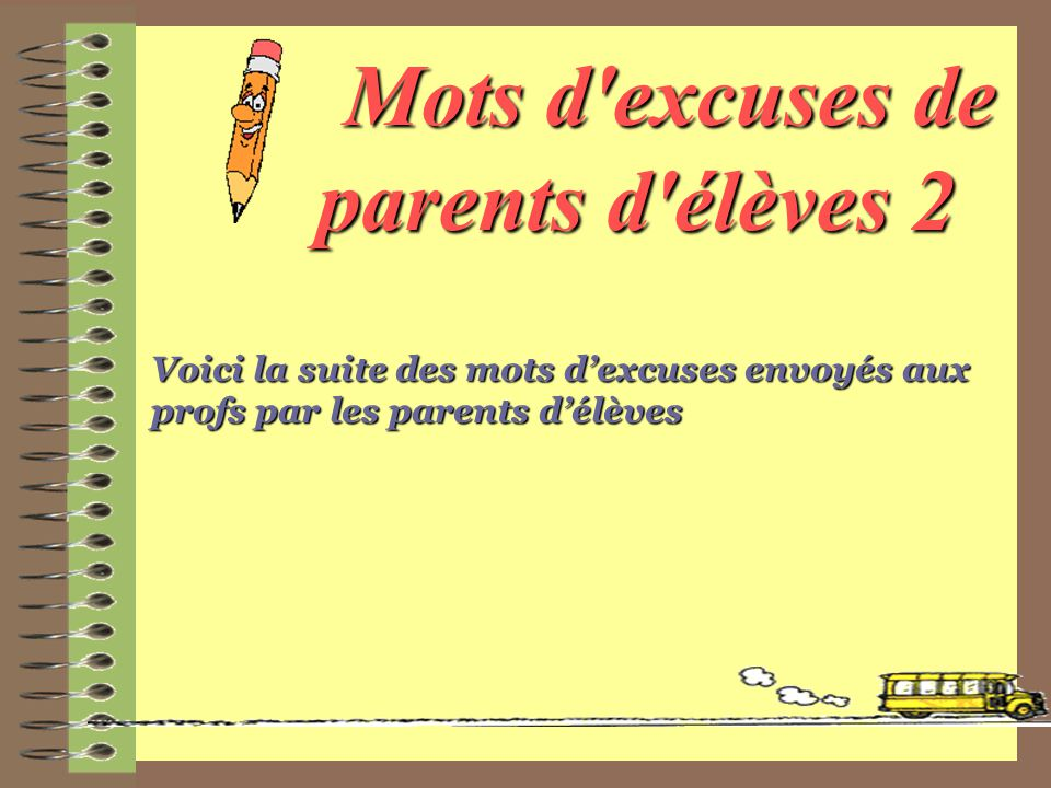 Mots d excuses de parents d élèves 2
