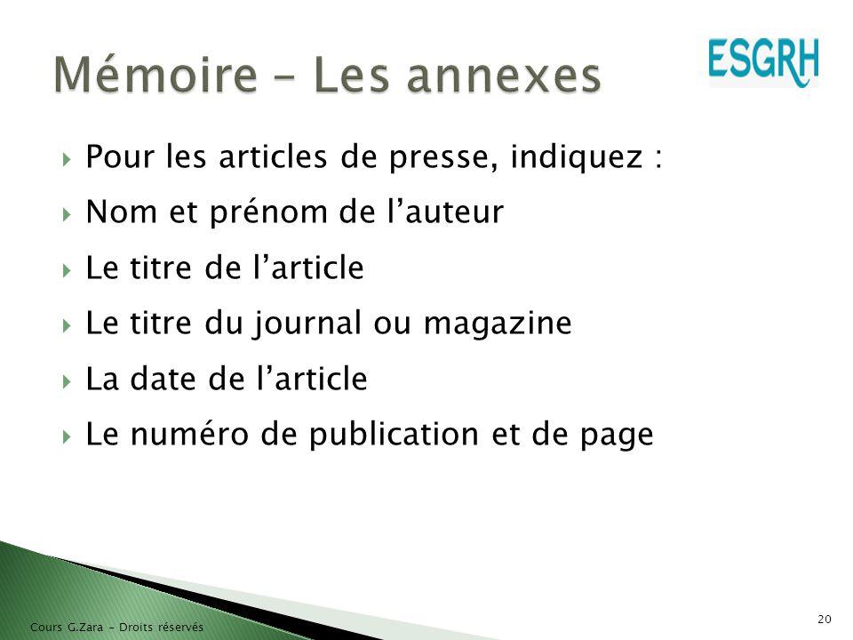 Mémoire – Les annexes Pour les articles de presse, indiquez :