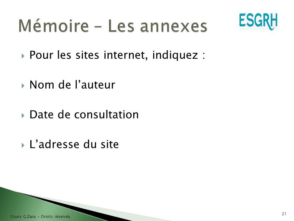 Mémoire – Les annexes Pour les sites internet, indiquez :