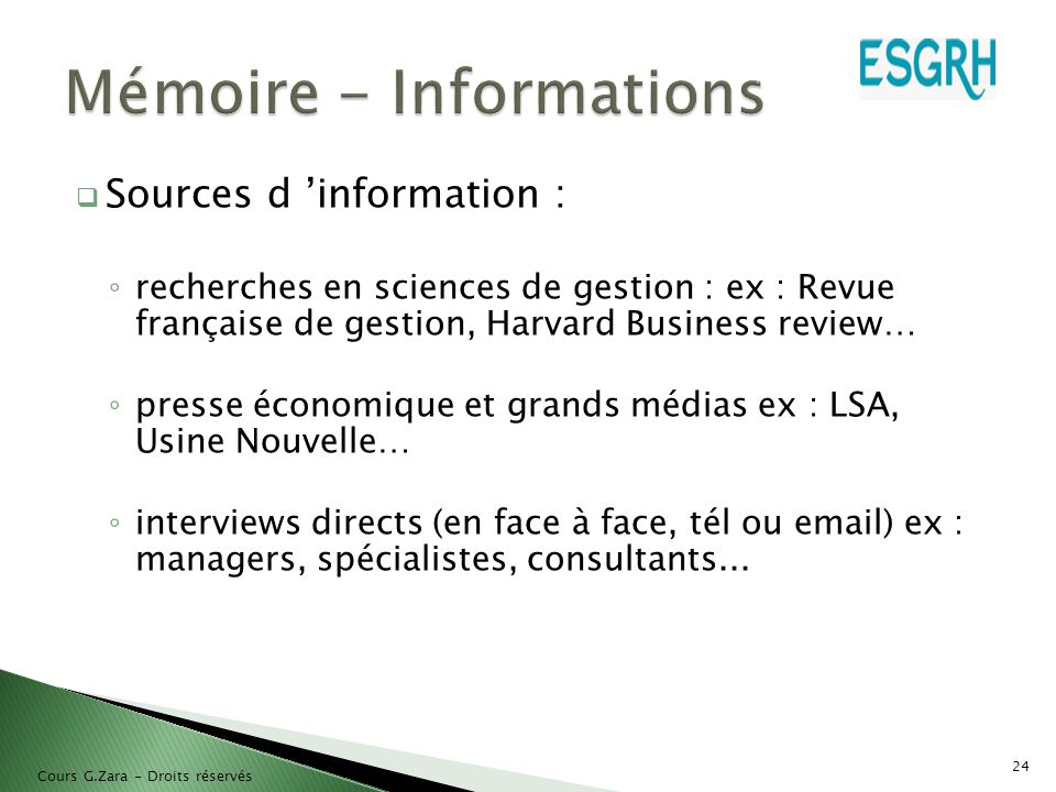 Mémoire - Informations