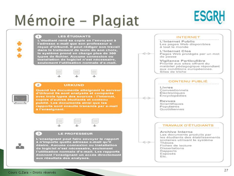 Mémoire - Plagiat Cours G.Zara - Droits réservés