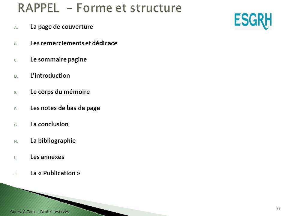RAPPEL - Forme et structure