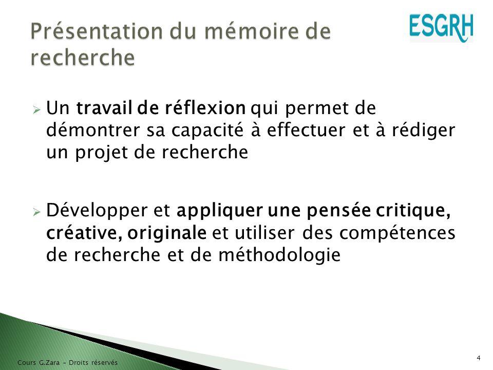 Présentation du mémoire de recherche