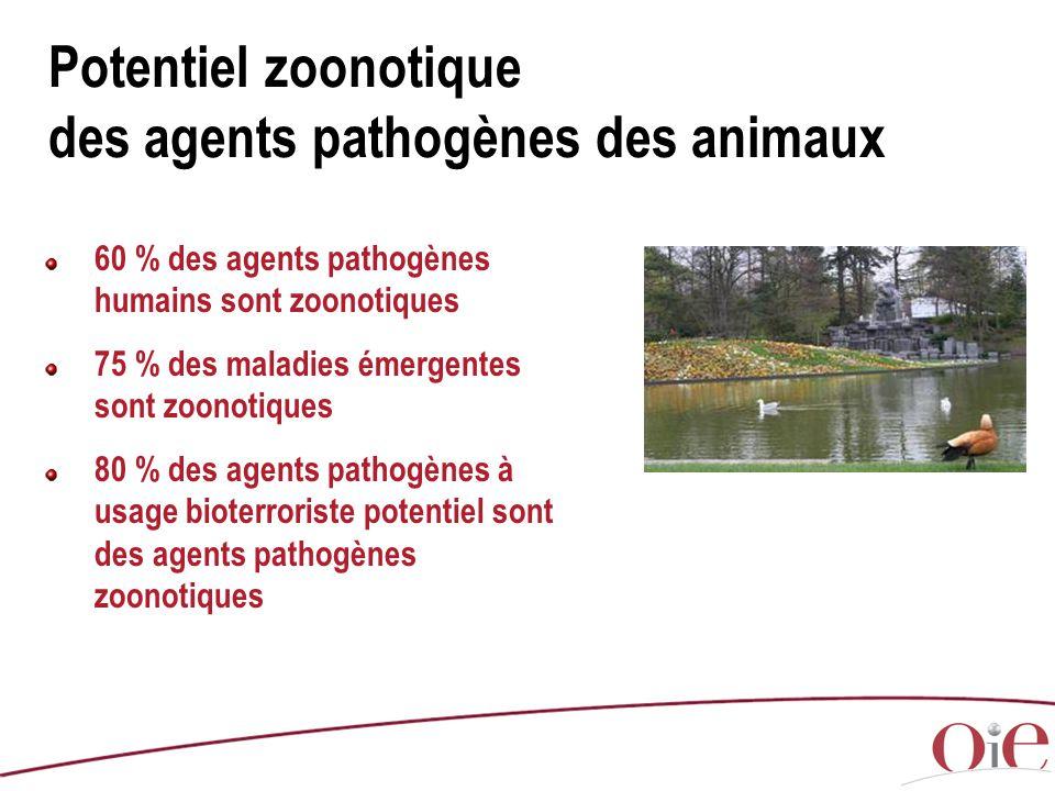 Potentiel zoonotique des agents pathogènes des animaux