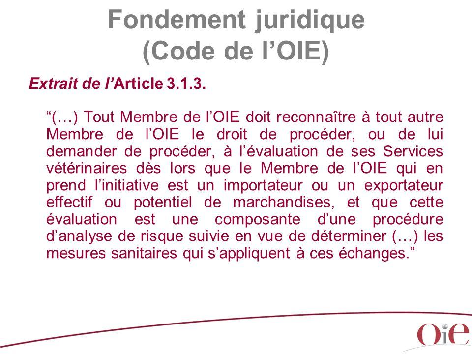 Fondement juridique (Code de l'OIE)
