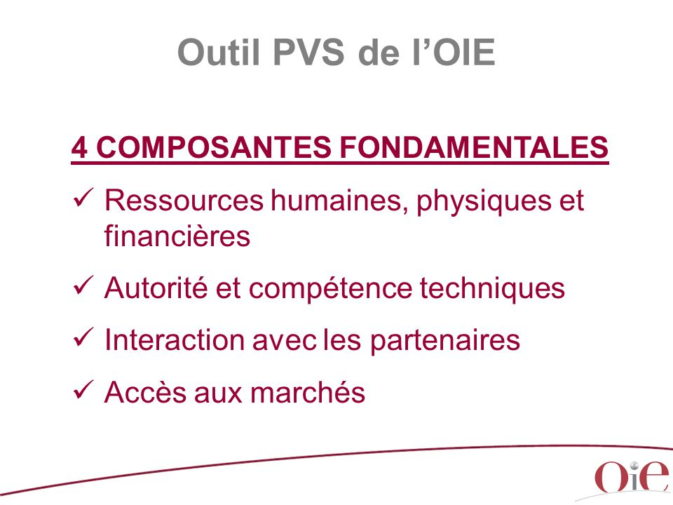 Outil PVS de l'OIE 4 COMPOSANTES FONDAMENTALES
