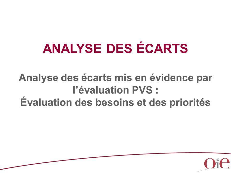 ANALYSE DES ÉCARTS Analyse des écarts mis en évidence par l'évaluation PVS : Évaluation des besoins et des priorités.