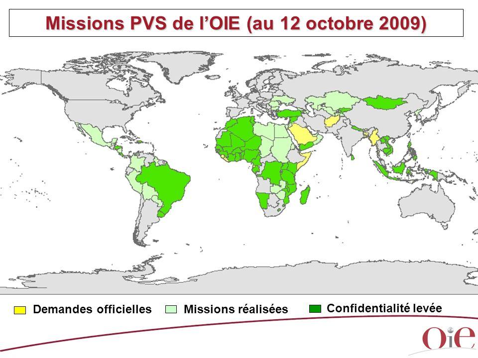 Missions PVS de l'OIE (au 12 octobre 2009)