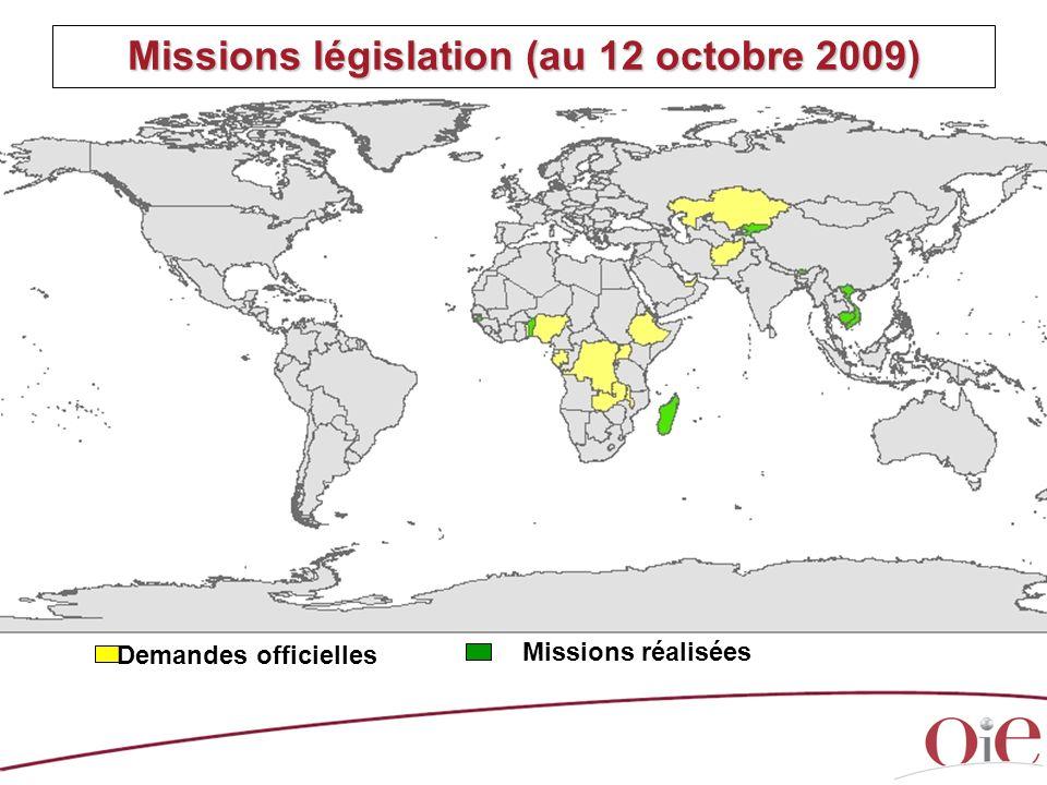 Missions législation (au 12 octobre 2009)