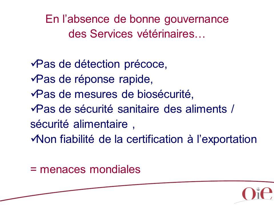 En l'absence de bonne gouvernance des Services vétérinaires…
