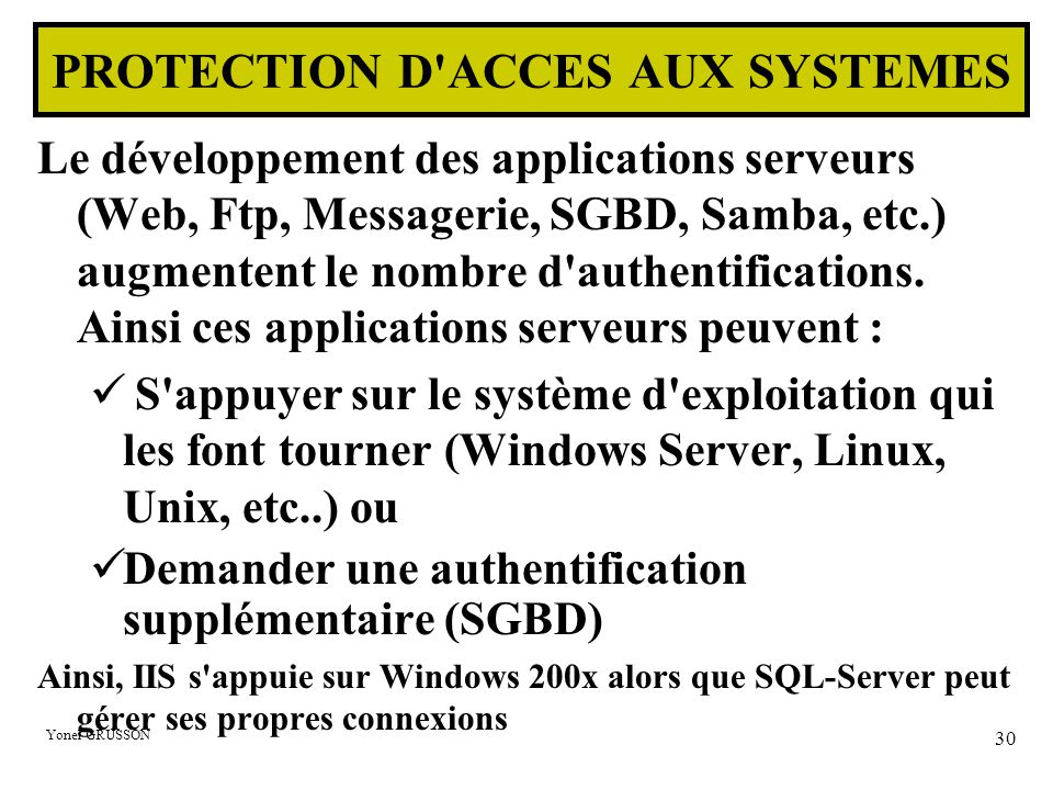 PROTECTION D ACCES AUX SYSTEMES