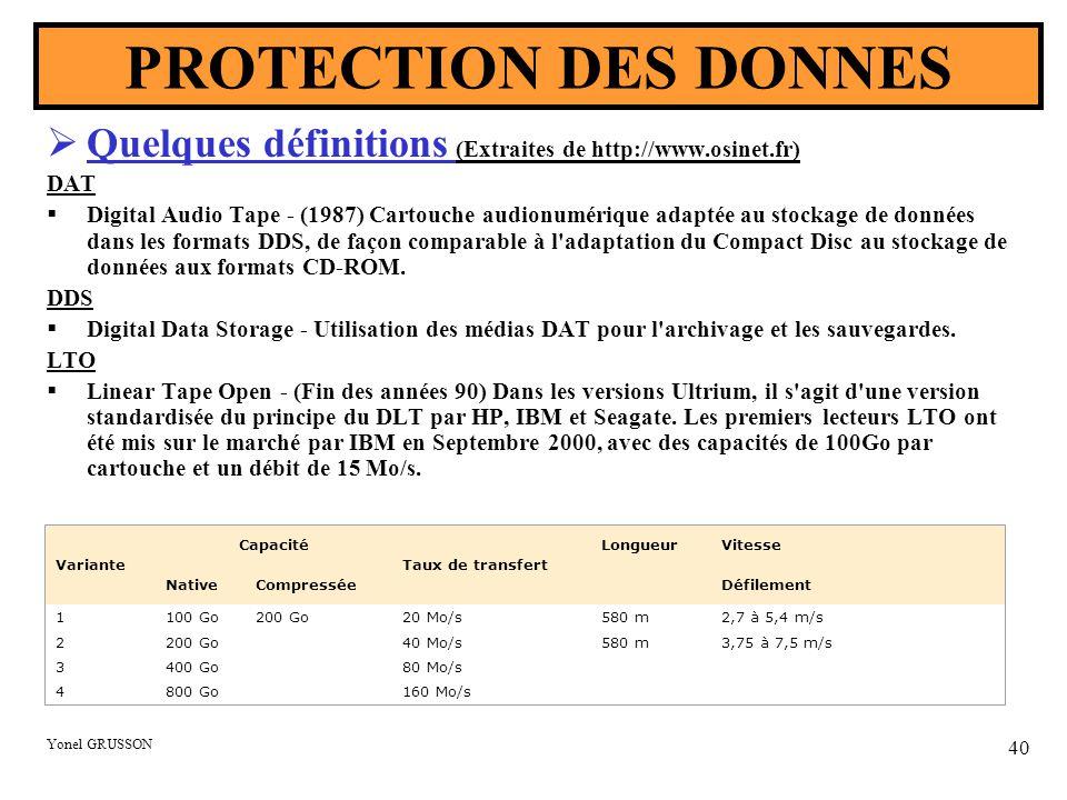 PROTECTION DES DONNES Quelques définitions (Extraites de http://www.osinet.fr) DAT.