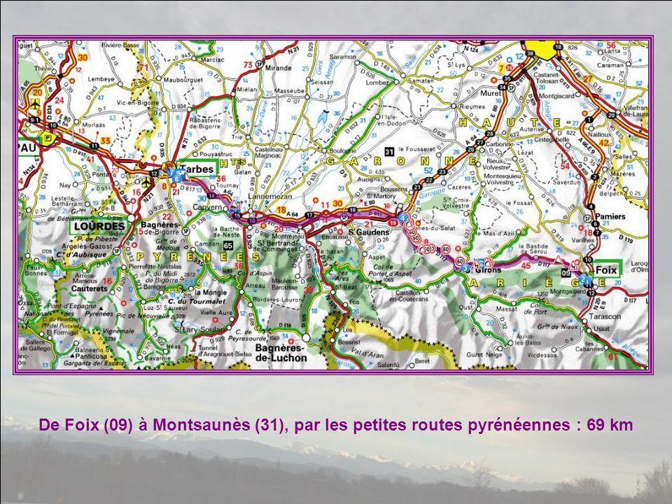 De Foix (09) à Montsaunès (31), par les petites routes pyrénéennes : 69 km
