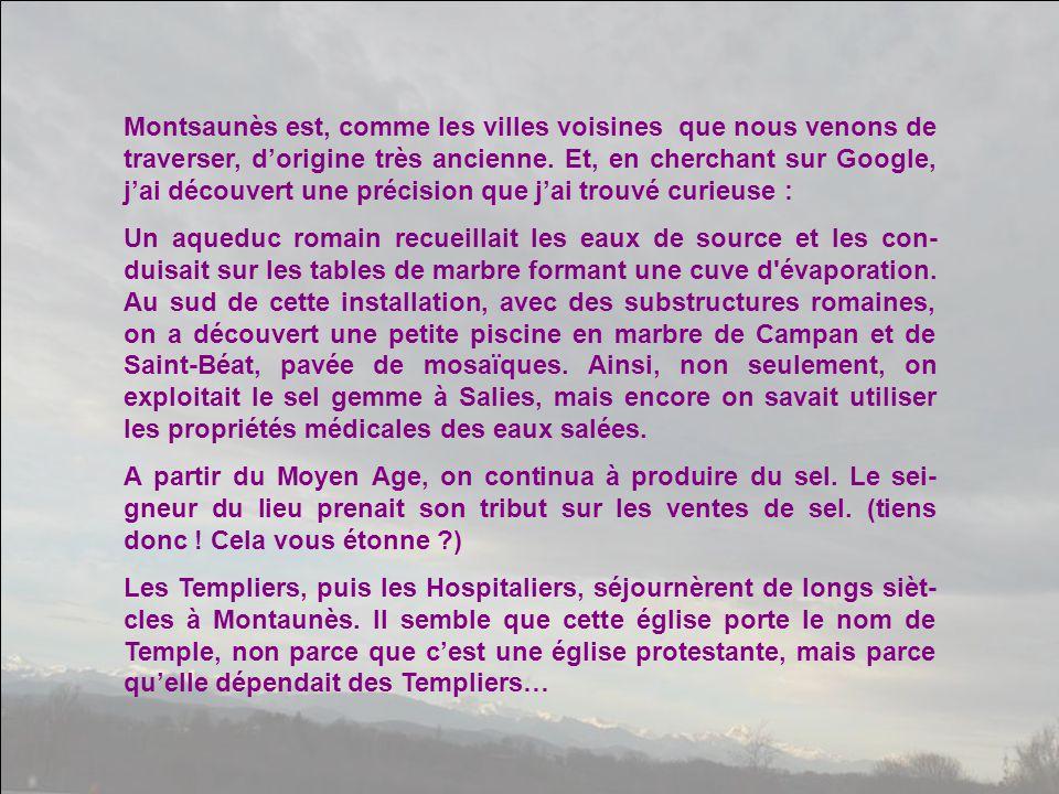 Montsaunès est, comme les villes voisines que nous venons de traverser, d'origine très ancienne. Et, en cherchant sur Google, j'ai découvert une précision que j'ai trouvé curieuse :