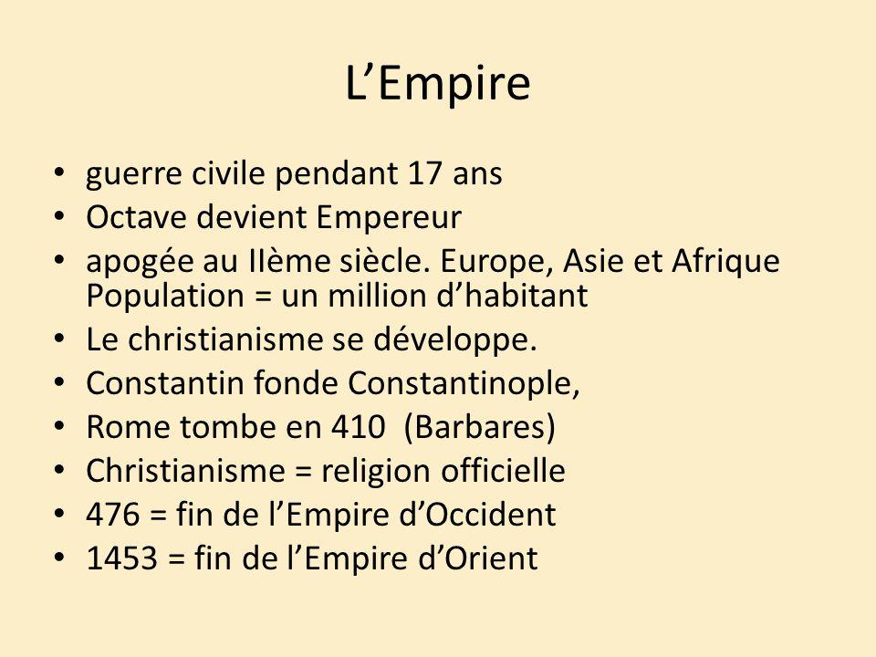 L'Empire guerre civile pendant 17 ans Octave devient Empereur