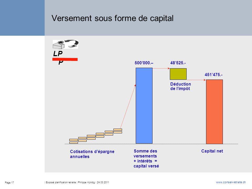 Versement sous forme de capital