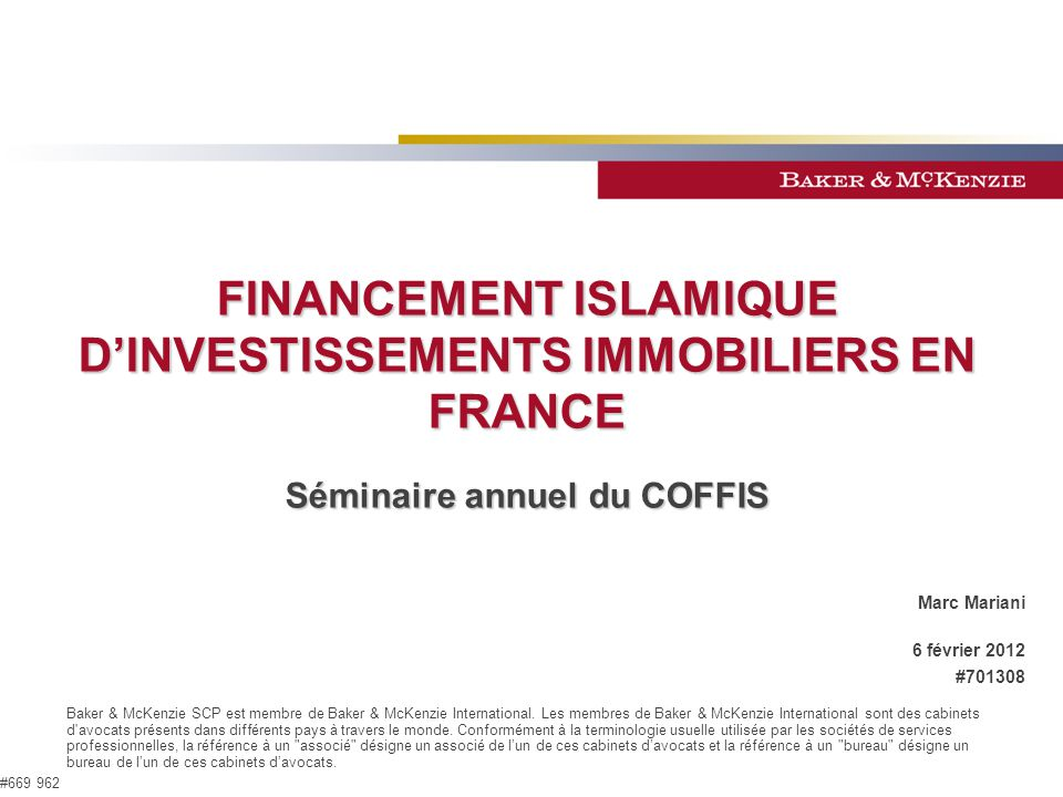 FINANCEMENT ISLAMIQUE D'INVESTISSEMENTS IMMOBILIERS EN FRANCE
