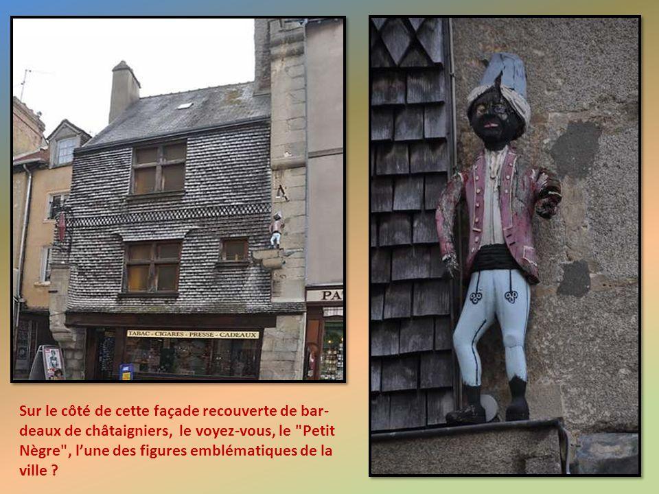 Sur le côté de cette façade recouverte de bar-deaux de châtaigniers, le voyez-vous, le Petit Nègre , l'une des figures emblématiques de la ville