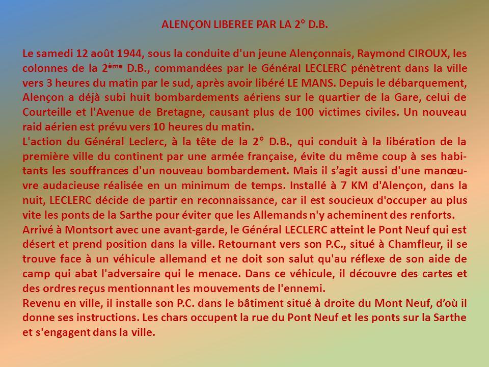 ALENÇON LIBEREE PAR LA 2° D.B.