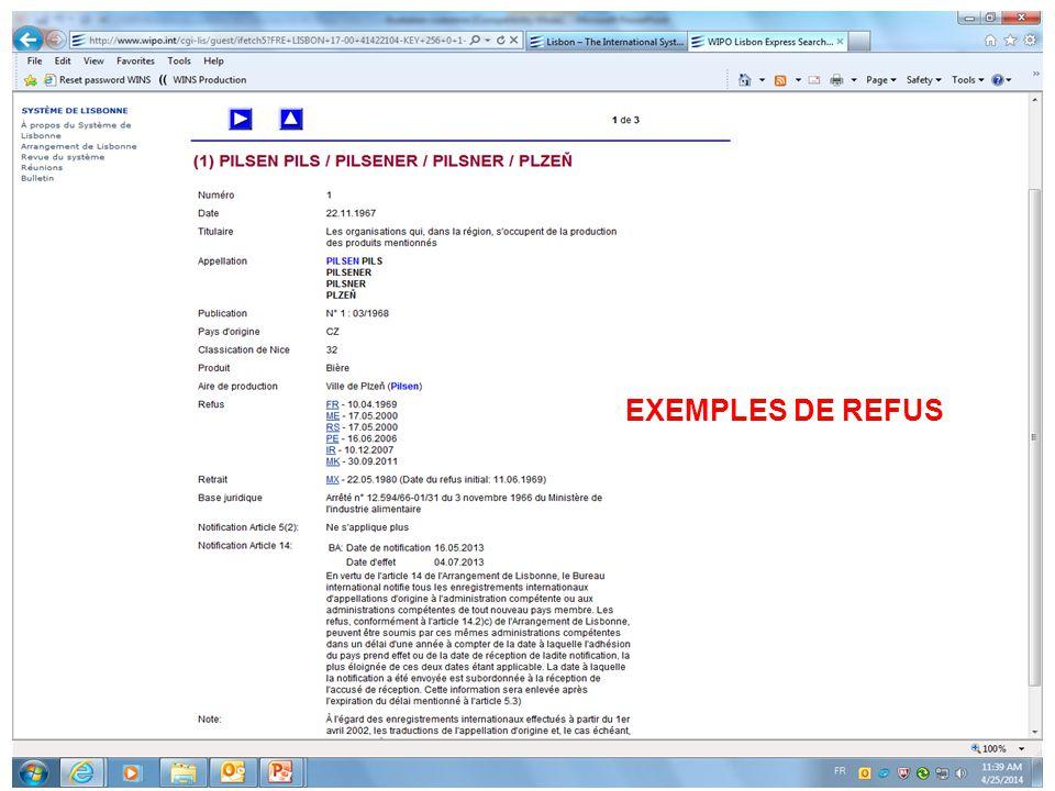 EXEMPLES DE REFUS Exemple de refus:
