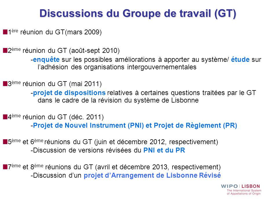 Discussions du Groupe de travail (GT)