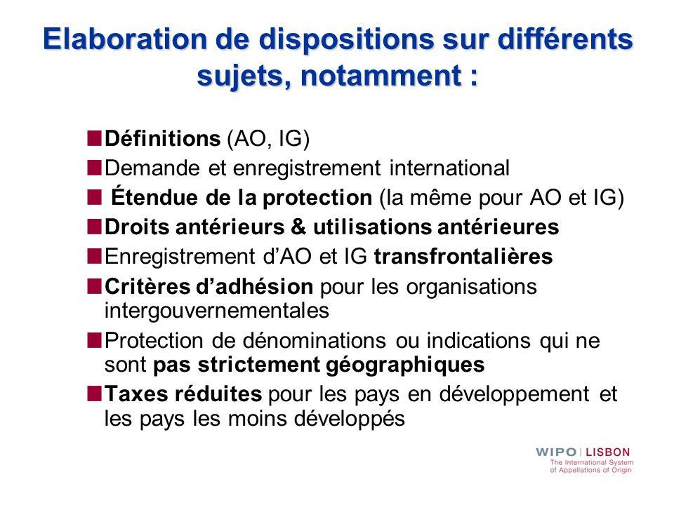 Elaboration de dispositions sur différents sujets, notamment :