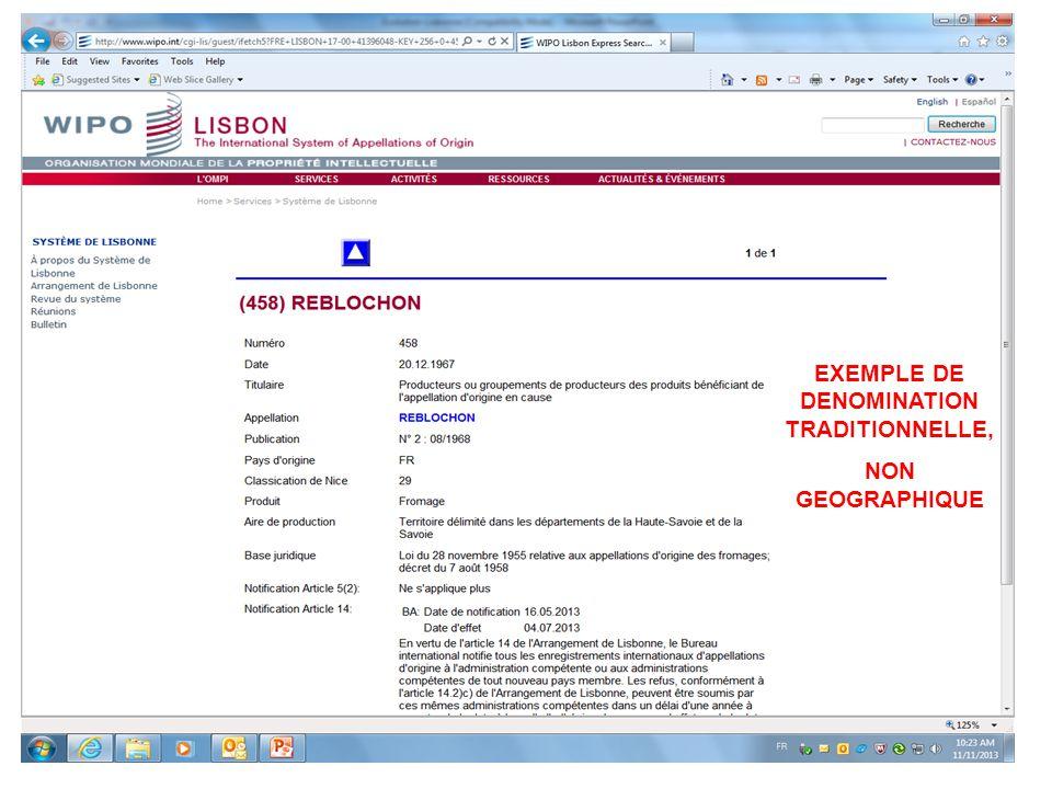 EXEMPLE DE DENOMINATION TRADITIONNELLE,