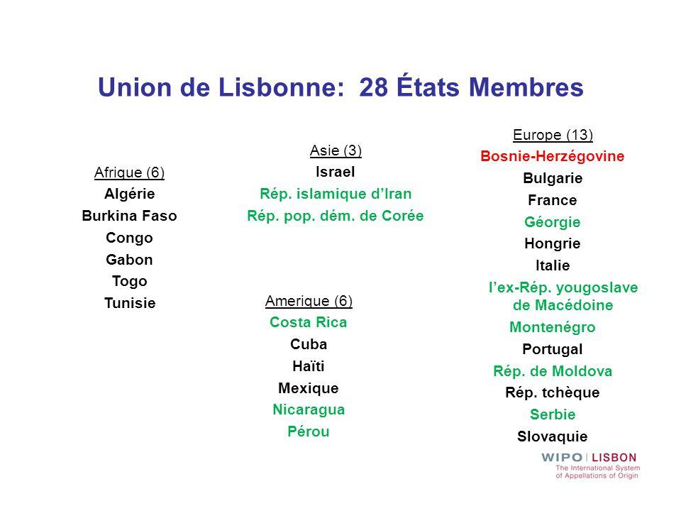 Union de Lisbonne: 28 États Membres l'ex-Rép. yougoslave de Macédoine