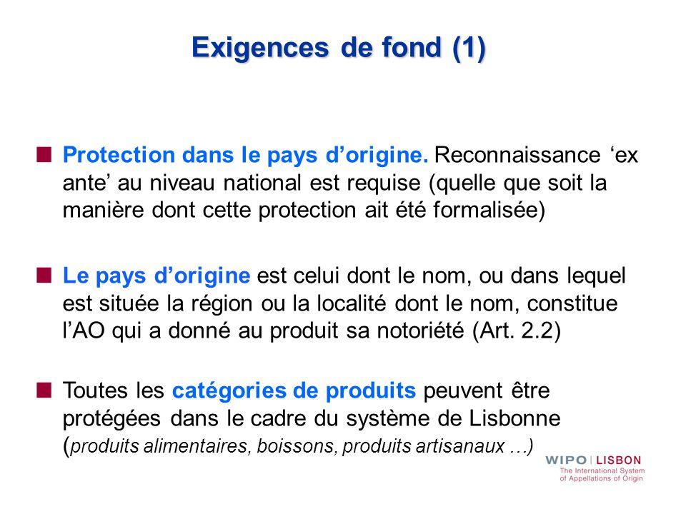 Exigences de fond (1)