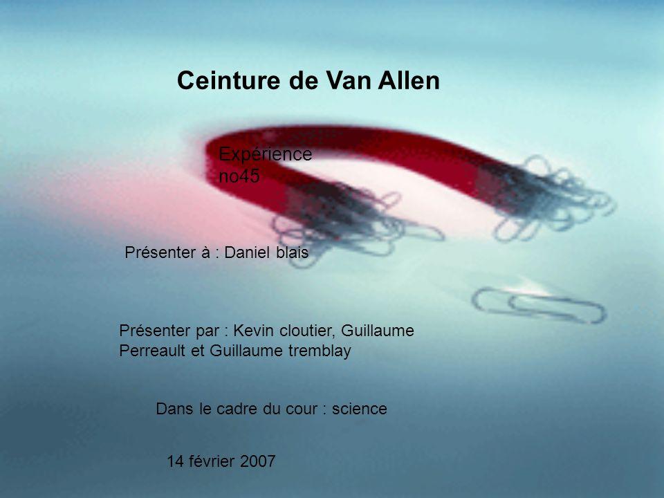 Ceinture de Van Allen Expérience no45 Présenter à : Daniel blais