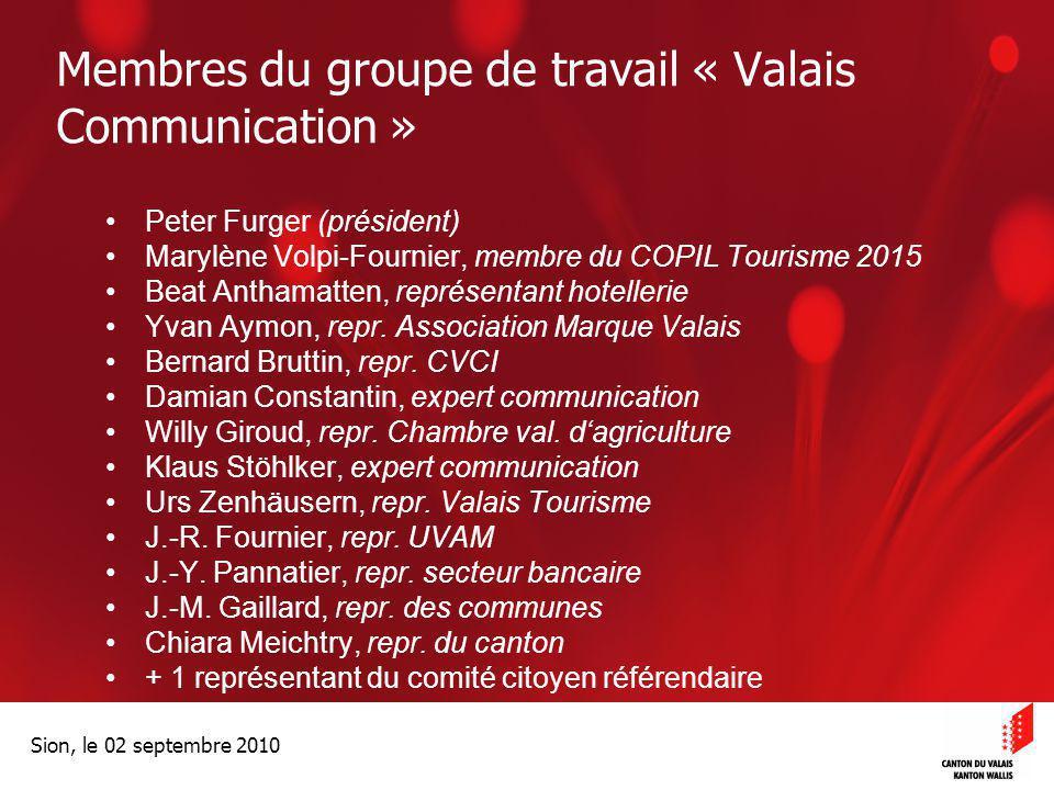 Membres du groupe de travail « Valais Communication »