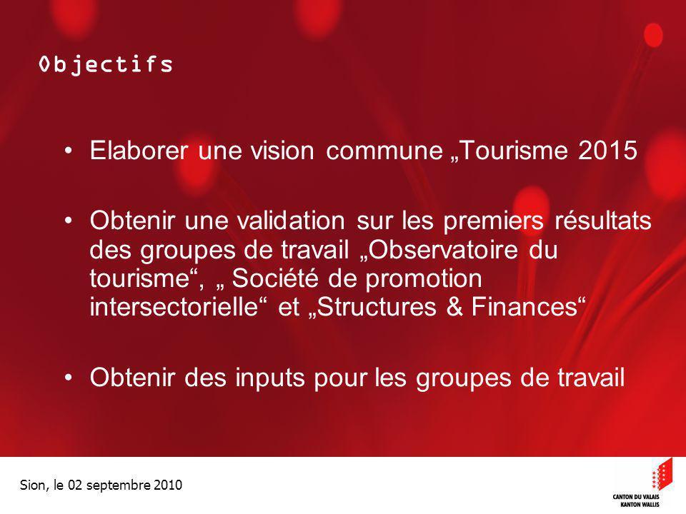 """Elaborer une vision commune """"Tourisme 2015"""