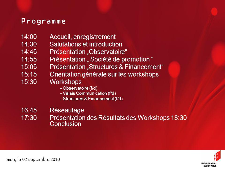 Programme 14:00 Accueil, enregistrement